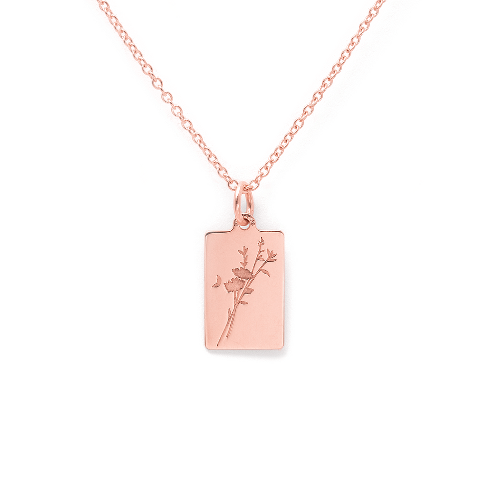 Chloris Flower Tag Necklace
