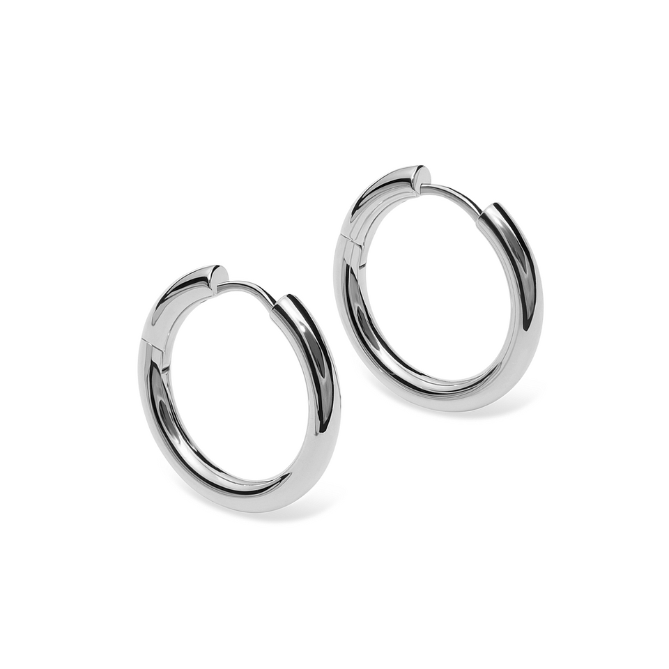 Silver Bold Hoop Earrings Stilnest