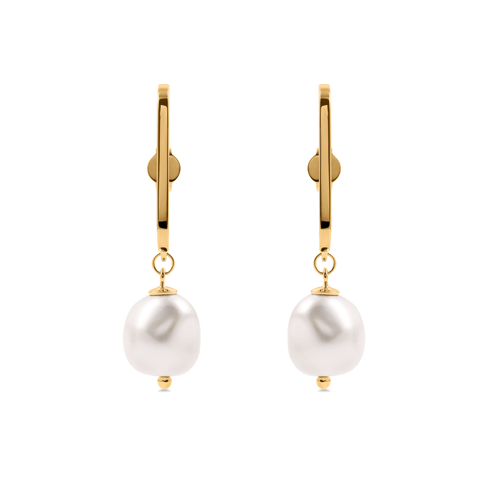 Baroque Pearl High Bar Earrings