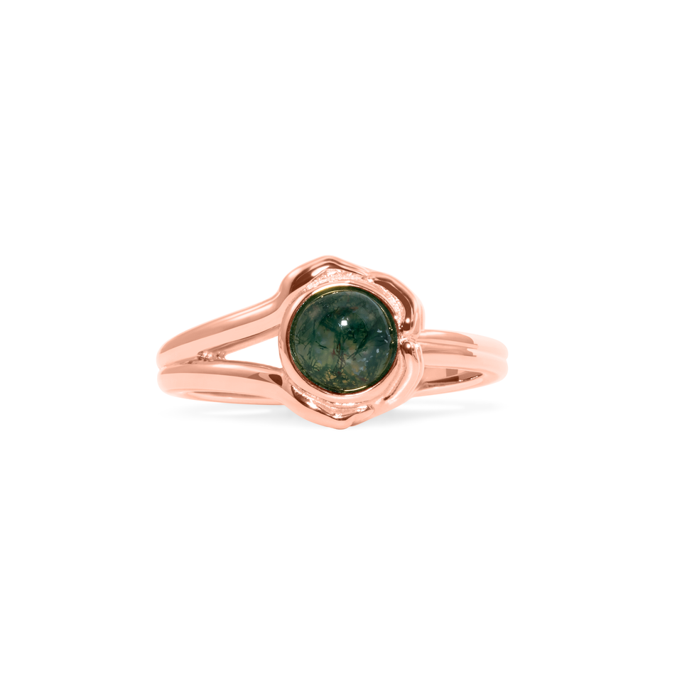Gypsy Girl Crystal Ball Ring Moss Agate