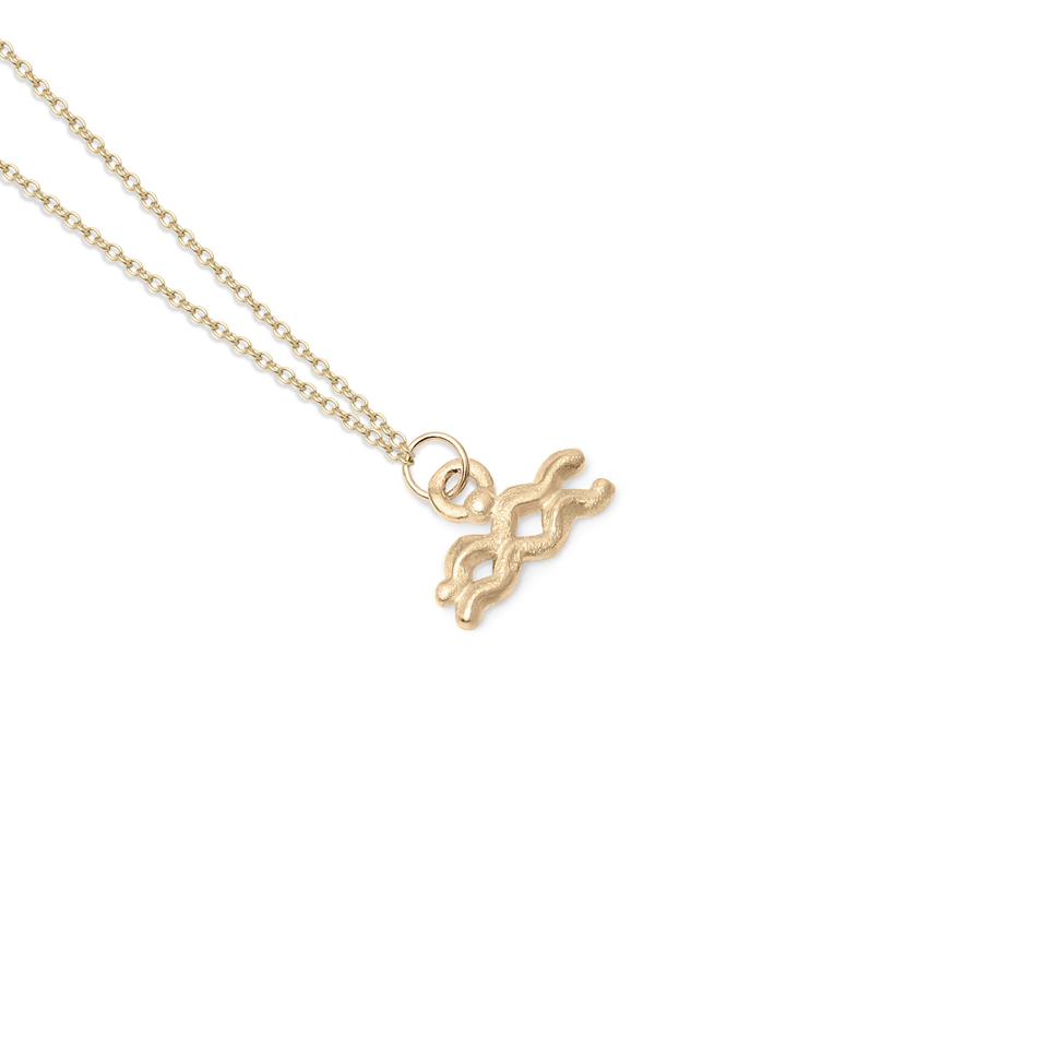 Zodiac Charm Necklace (Aquarius) Solid Gold 14 ct