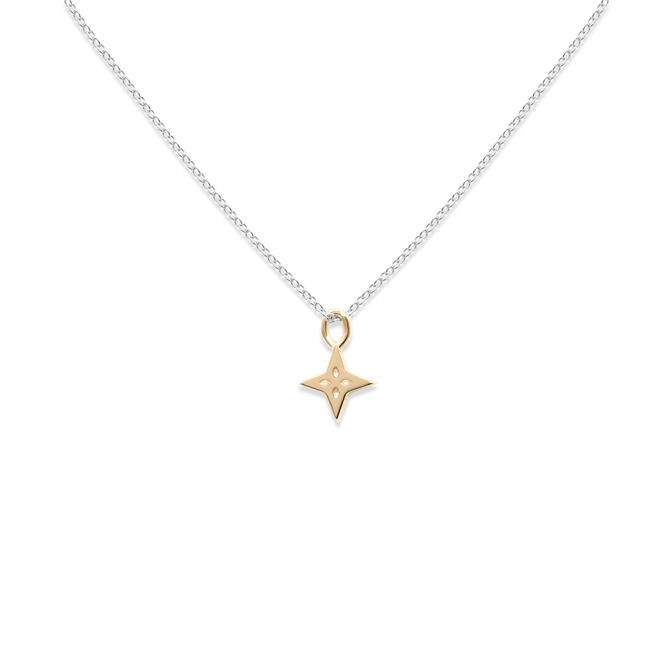 Gold Shooting Star + Silver Anchor Chain