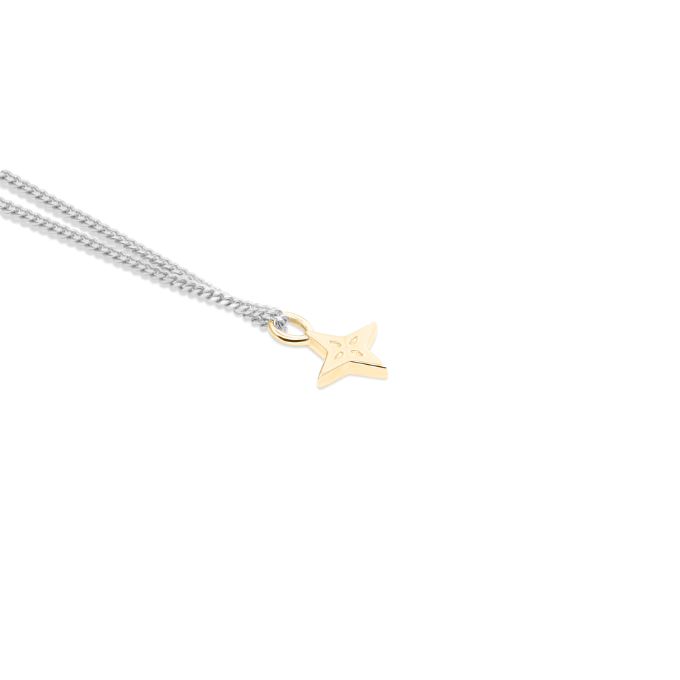 Gold Shooting Star + Silver Curb Chain