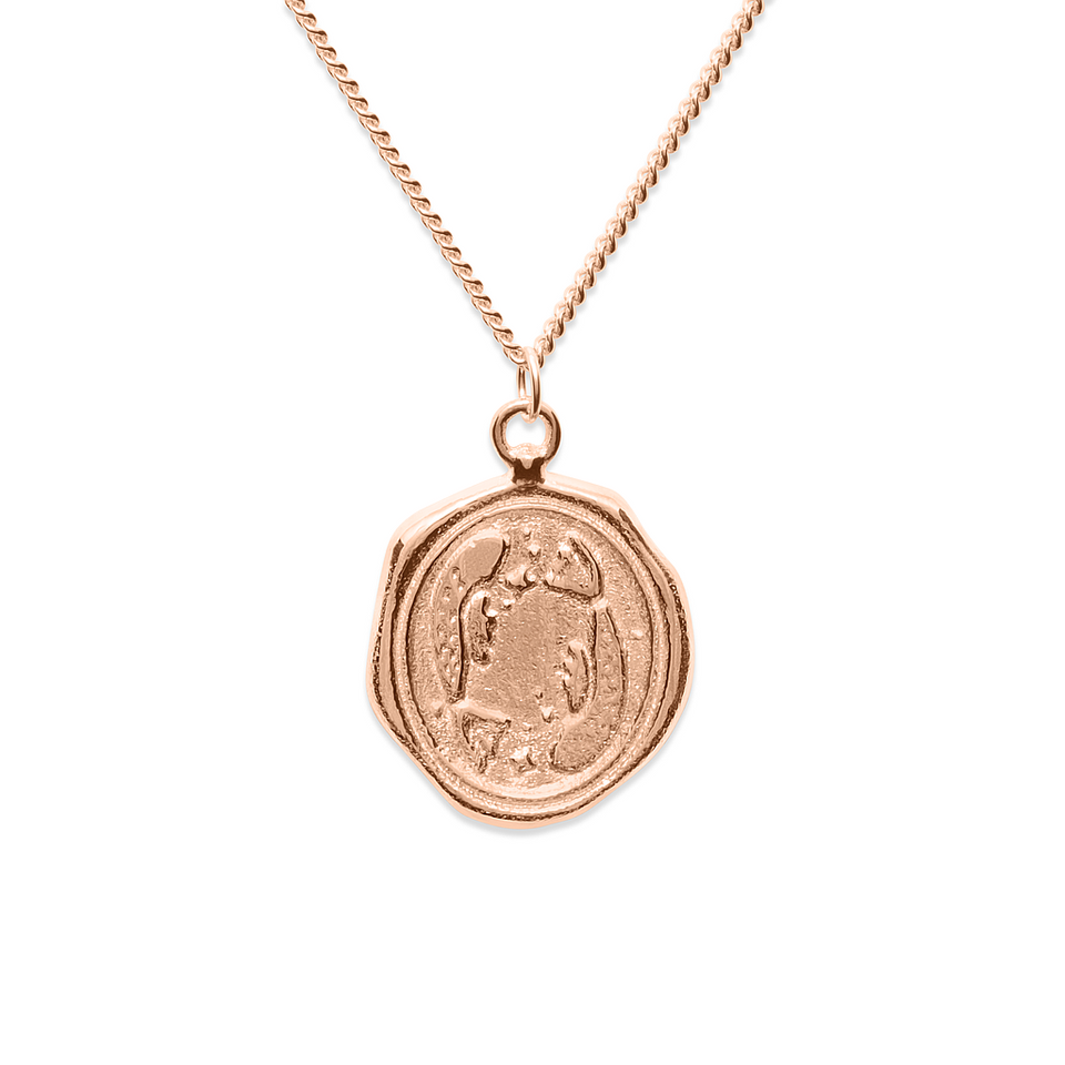 Zodiac Seal Necklace Rose Gold Vermeil