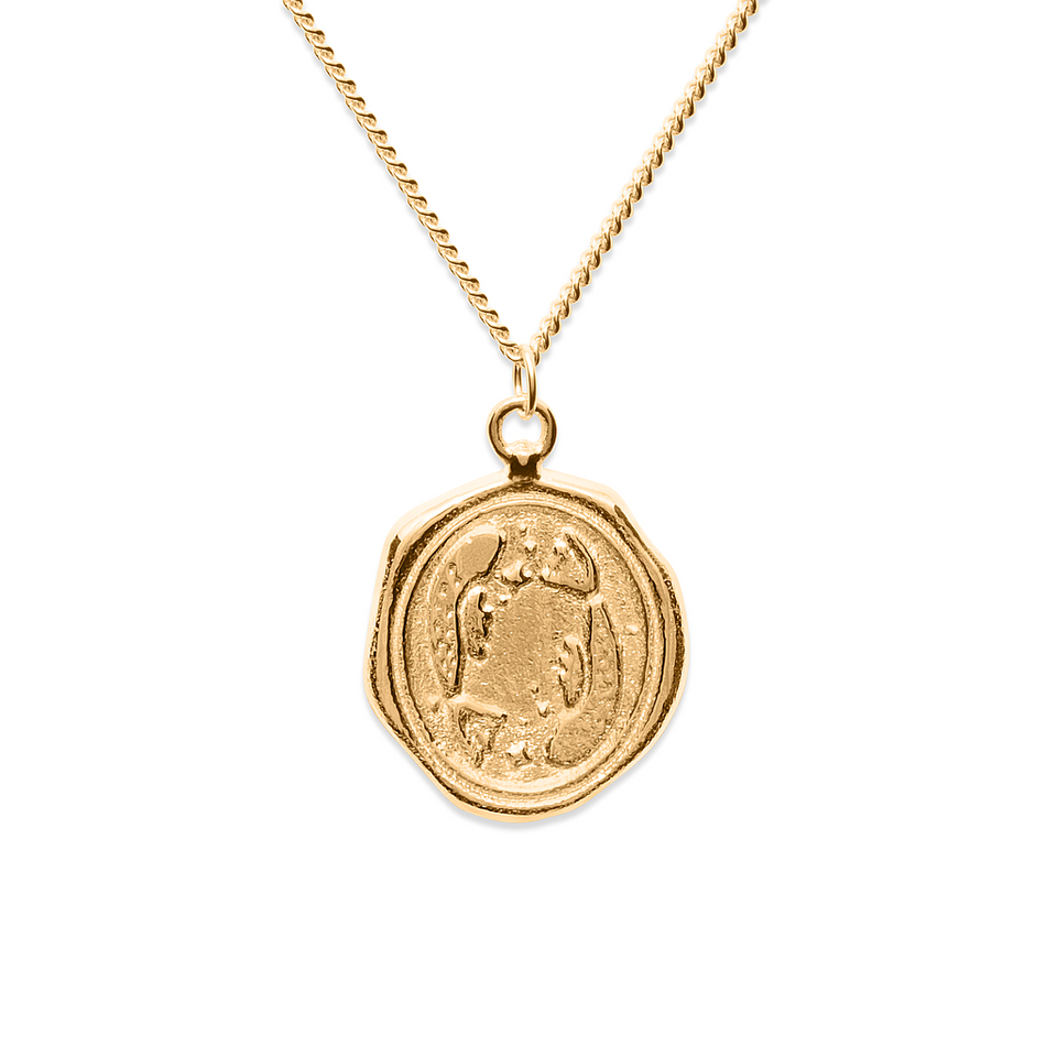 Zodiac Seal Necklace Gold Vermeil