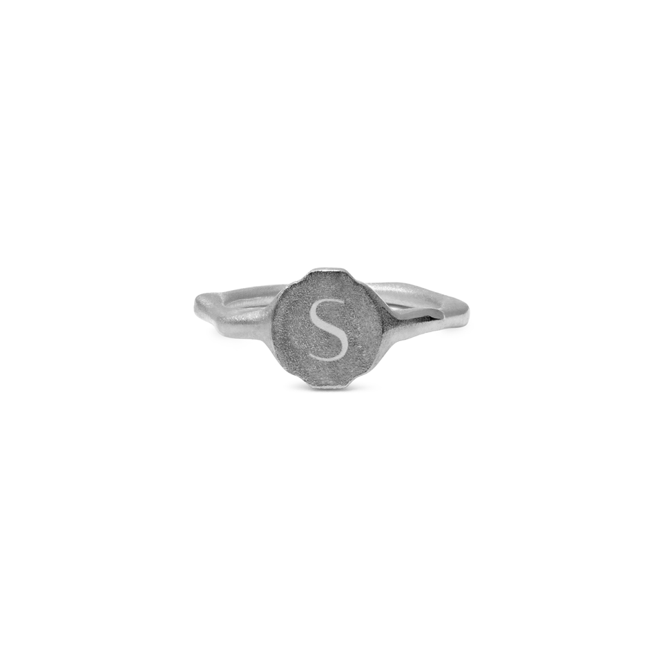 Fluid Letter Ring Jewelry stilnest Rhodium Plated 925 Silver XXS - 44 (14.01mm)