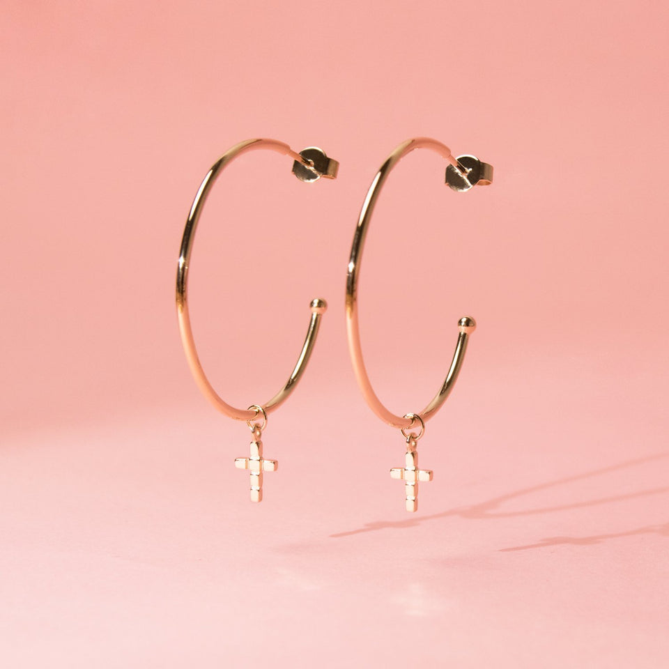 Make a Wish Cross Ear Hoops