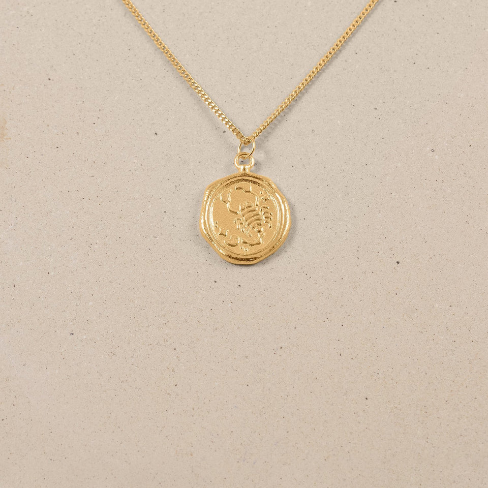 Zodiac Seal Kette 24k Gold Vermeil Jewelry stilnest S (45cm) Skorpion