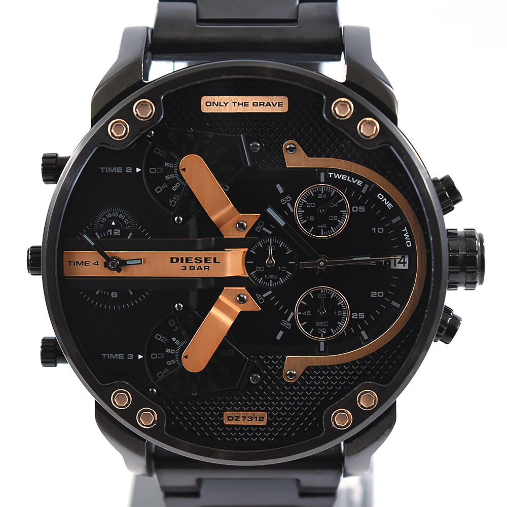 Diesel Mr. Daddy 2.0 DZ7312 Black and Rose Gold Men's Chronograph Stainless Steel Watch