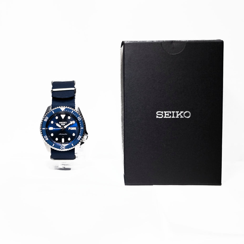 Seiko 5 Sports 24 Jewel Automatic Watch Blue/Stainless Nylon