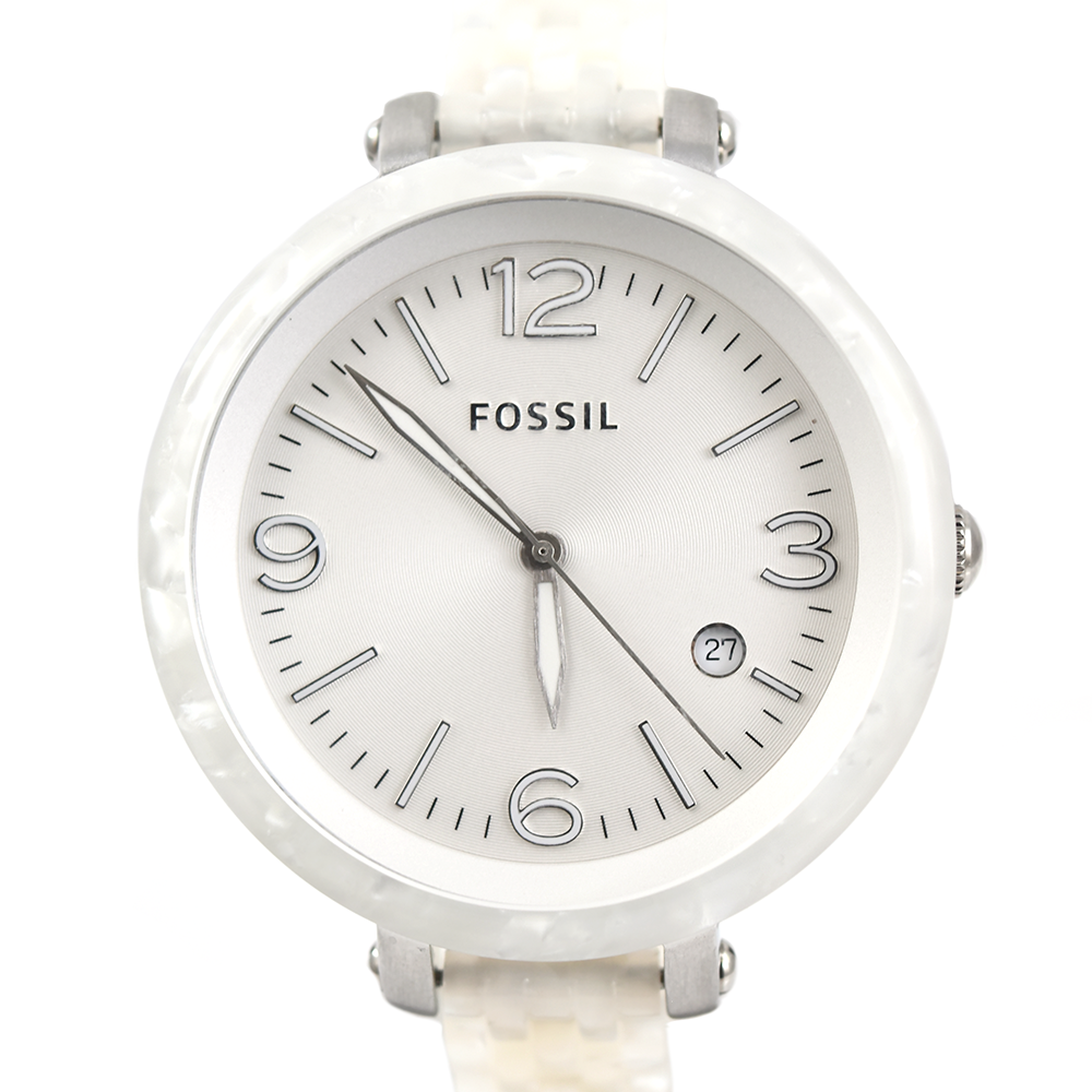 Fossil Heather JR1409 Pearlized White Three Hand Resin Watch