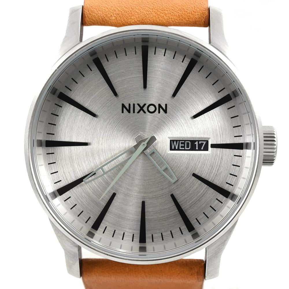 Nixon Sentry Leather A105 2853 Silver And Tan Watch