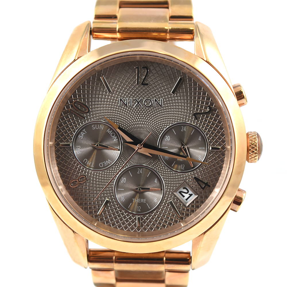 Nixon Bullet Chrono 36 A949 2214 Multifunction Rose Gold Taupe Watch