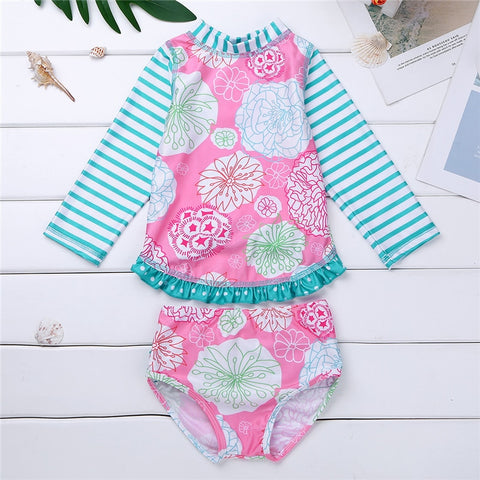 Kids Tankini Long Sleeves Floral Printed Swimsuit