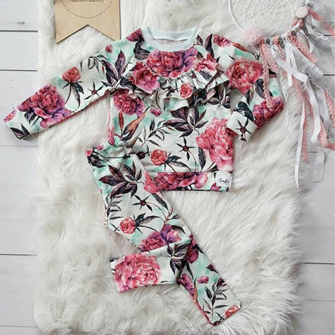 Toddler Long-sleeved Floral Set