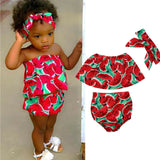 Summer Baby Girl Watermelon 3PC Print Outfit Set