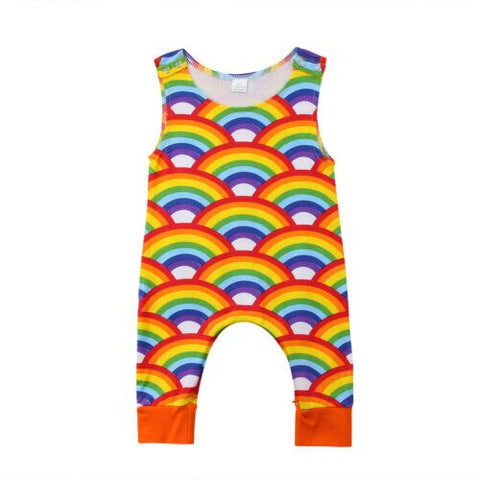Baby Unisex Rainbow Romper Sleeveless Jumpsuit