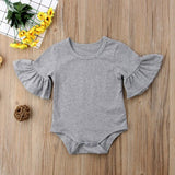 Baby Girls Cotton Romper Flare Sleeve