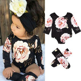 2PCS Newborn Baby Girl Floral Clothes Long Sleeve Romper Socks Cotton Outfit Set 2PCS 0-18M