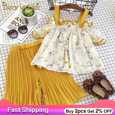 Girls Clothing 2PC Set Curl Striped pantT-shirt+Long Stripe Pants Floral Print