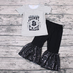 Sweet Johnny Cash T-shirts & Sequins Bell Bottom Pants 2PCS