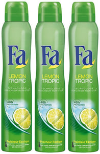 Fa - Déodorant - Lemon Tropic - Atomiseur 200 ml - Lot de 3
