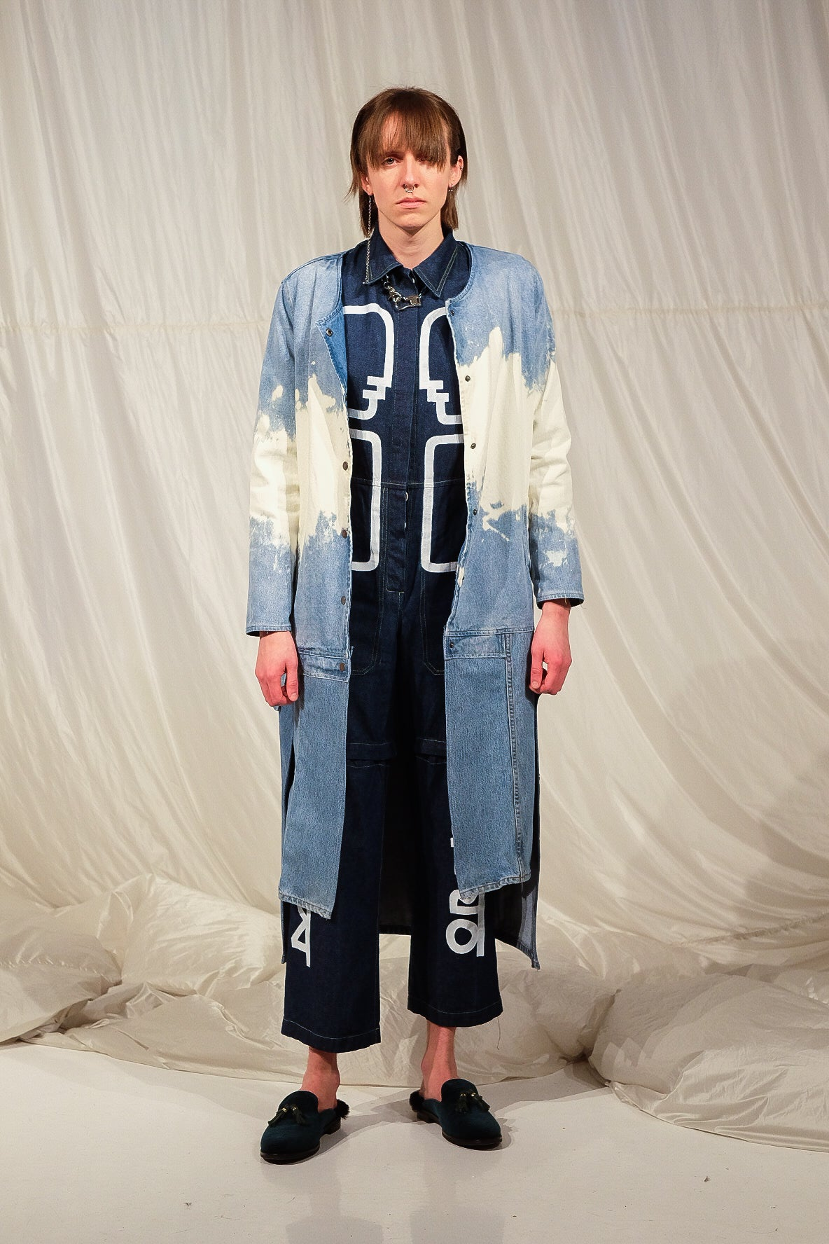 WHAT IS A MAN reconstructed denim overcoat