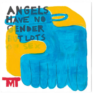 ANGELS HAVE NO GENDER yellow and blue painting