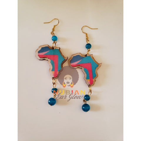 Vintage African Map drop Earring