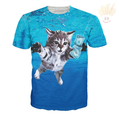 Cat Cobain T-Shirt Small / Ultra Premium Aqua T-Shirts