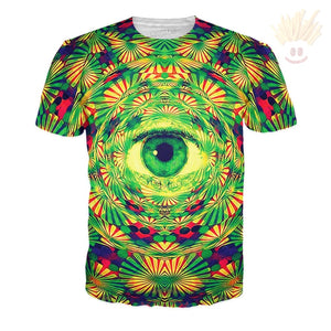 Psychedelic Eye T-Shirt X-Small / Ultra Premium Mint Cream T-Shirts