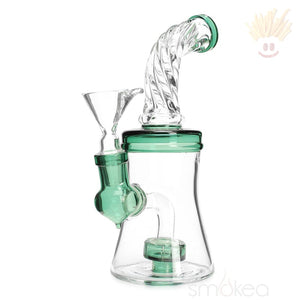 Smokea 8 Cut Glass Mini Bong W/ Bent Neck Lake Green Bongs