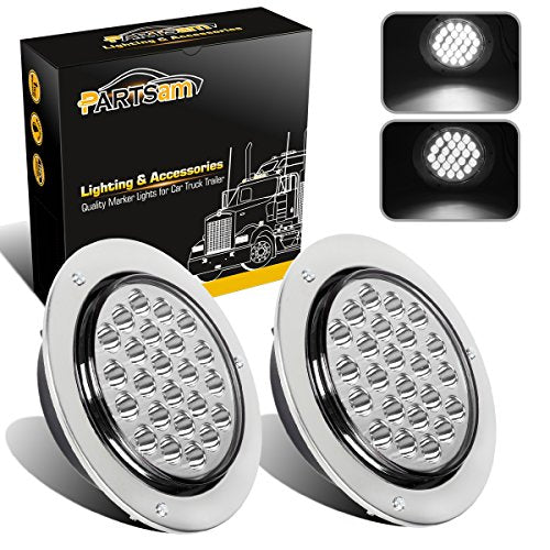 "Partsam 2pcs 4"" Round White 24 LED Truck Trailer Light - Truck Driver Store"