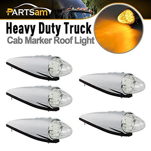 Partsam 5pc Super Bright Amber Yellow 17 LED Clear Lens - Truck Driver Store