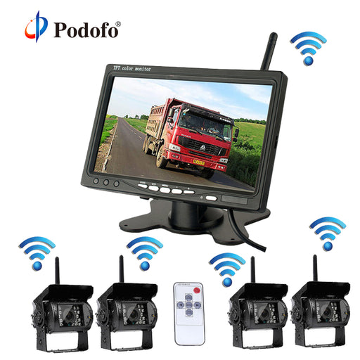 Wireless 4 Backup Cameras System with 7 Inch Car Rear View - Truck Driver Store