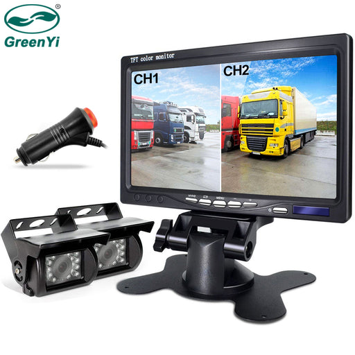 Rear View Reversing Camera  7 inch Double Screen Monitor Fit - Truck Driver Store