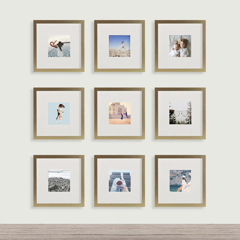 9-Pack, Brushed Gold, 8x8 Photo Frame (4x4 Matted)