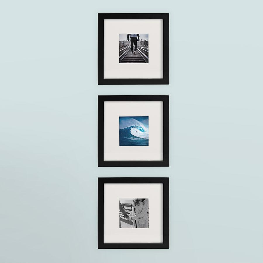 3-Pack, Black, 8x8 Photo Frame (4x4 Matted)