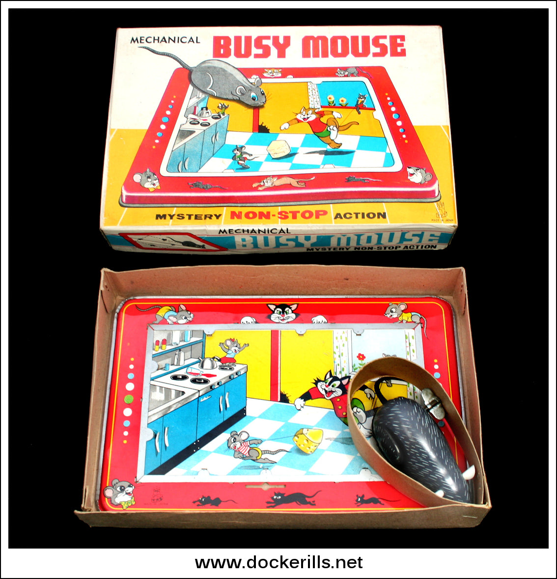 Busy Mouse. Vintage Tin Plate Clockwork Novelty Toy, T.P.S. Toplay Ltd.,  Japan ...