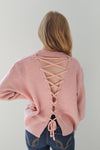 Pink Lace Back Sweater