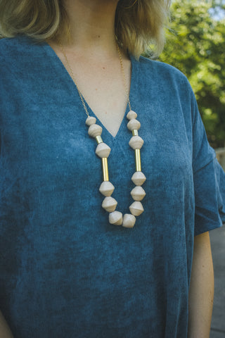 Karis Chunky Scoop Necklace - Cream