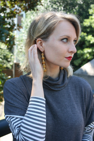Millie Drop Earrings - Mustard