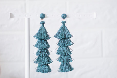 Teal Long Fringe Earrings