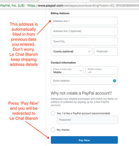 PayPal checkout as a guest Le Chat Blanch gateway explanation