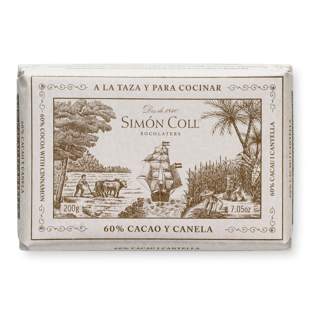 Simon Coll Drinking Chocolate 60% Cocoa & Cinnamon 200g Bar