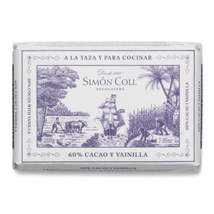 Simon Coll Drinking Chocolate 60% Cocoa & Vanilla 200g Bar