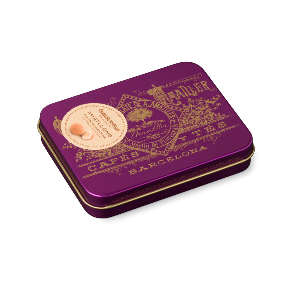 Chocolate Amatller Amatllons Marcona Almond bonbon 65g Purple Vintage Tin