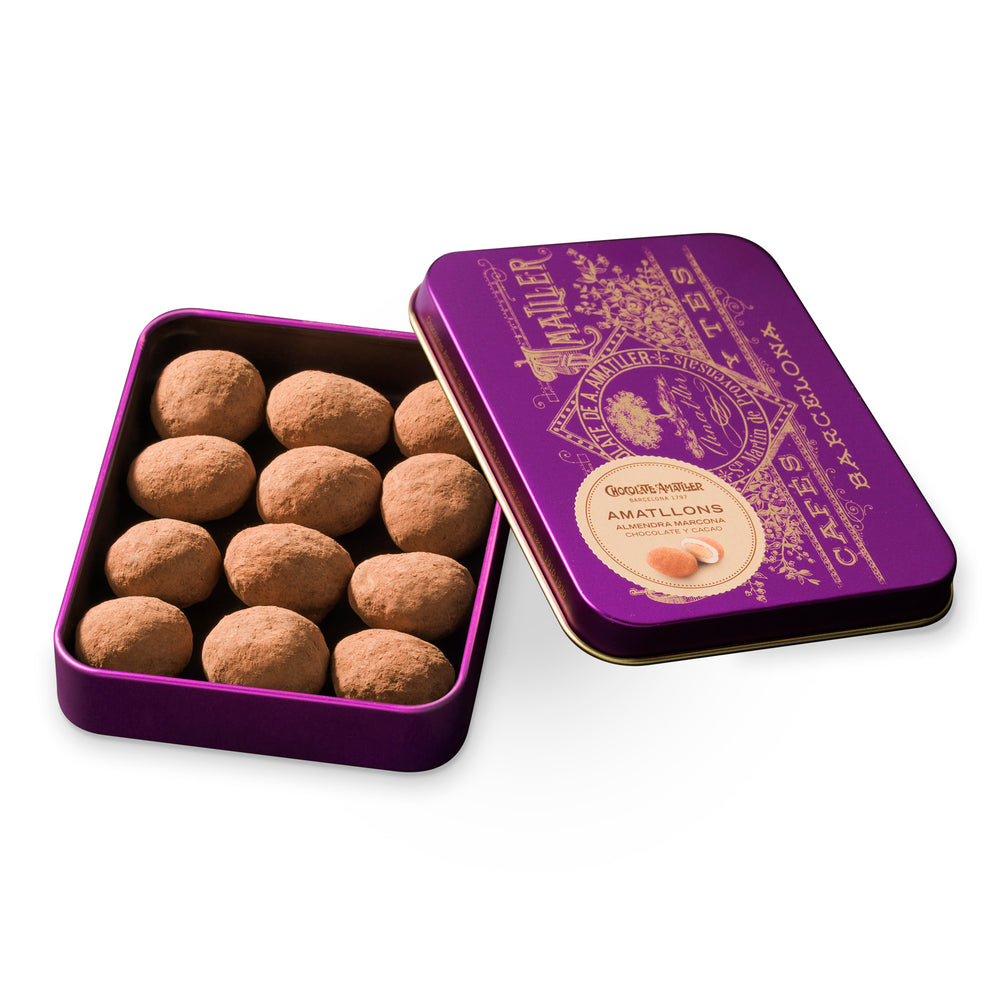 Chocolate Amatller Amatllons Marcona Almond bonbon 65g Tin Open