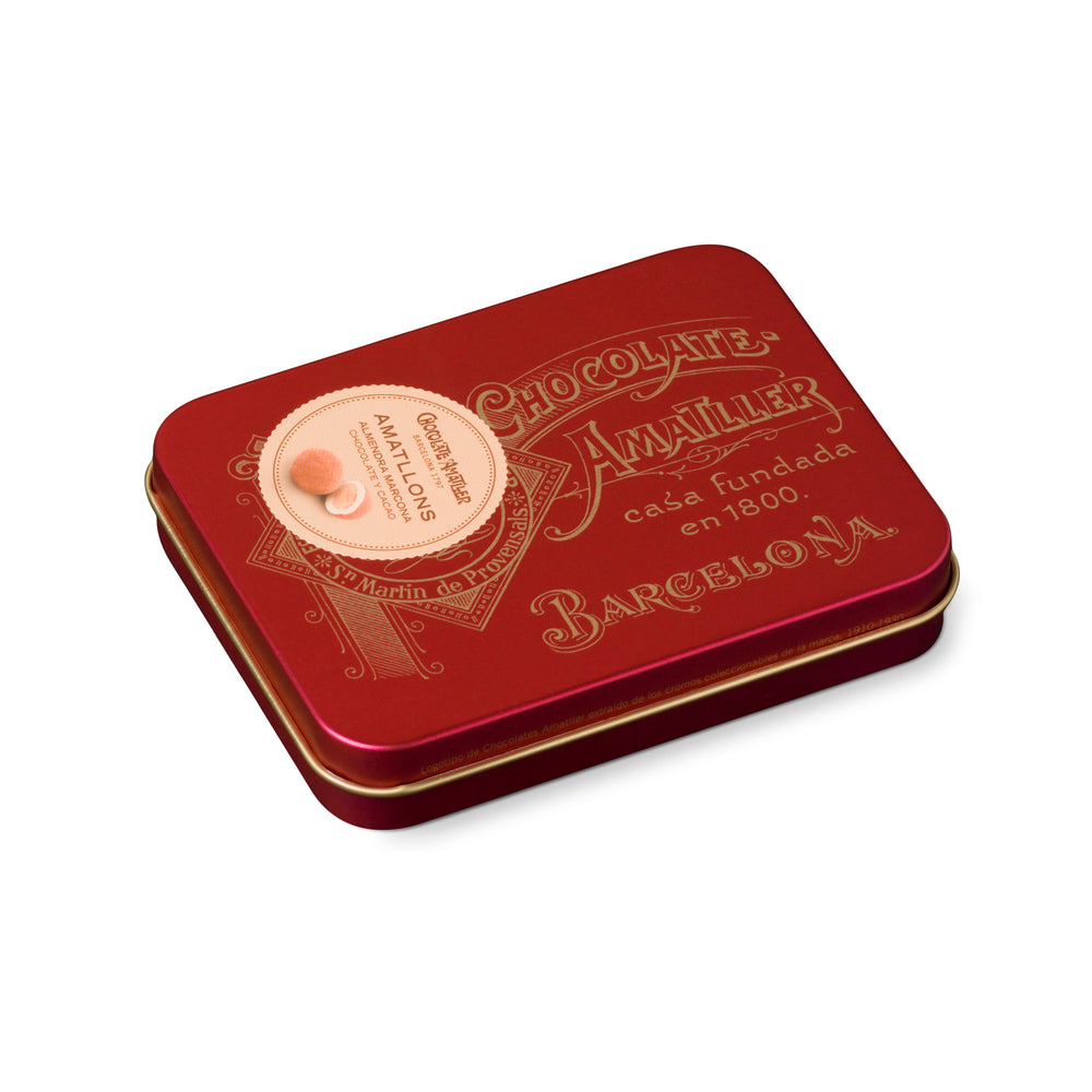Chocolate Amatller Amatllons Marcona Almond bonbon 65g Red Vintage Tin