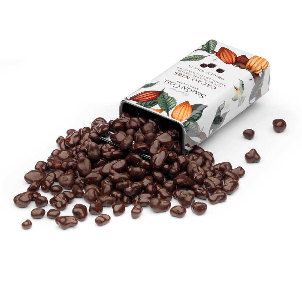 Simon Coll Cocoa Nibs covered in 70% Ghana chocolate 30g Tin